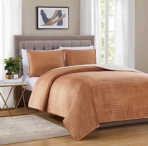 Bourina Velvet Sherpa Blanket Quilt, Super Plush Quilt 3-Piece Bedding Large Double-Sided Plush Comfort Softest Quilt Sets, King 106×94' Orange
