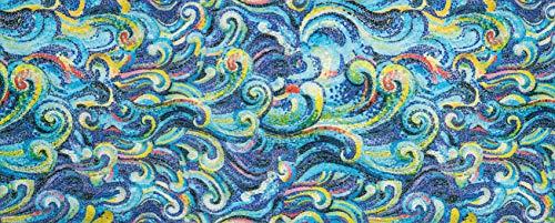 HomeLife Tappeto Cucina Antiscivolo Lavabile Effetto Mosaico 58X140 Made in Italy | Passatoia Corridoio Moderna in Ciniglia Fantasia Colorata | Tappet