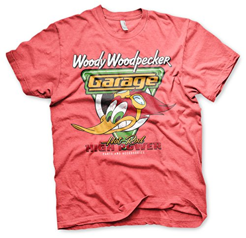Woody Offizielles Lizenzprodukt Woodpecker Garage Herren T-Shirt (Rot-Heather), Medium