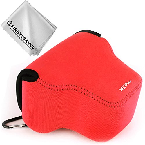 First2savvv Rot Flexible Neopren DSLR/SLR Kameratasche für Panasonic Lumix DMC GX9 GX85 GX80 (14-140mm 12-60mm)