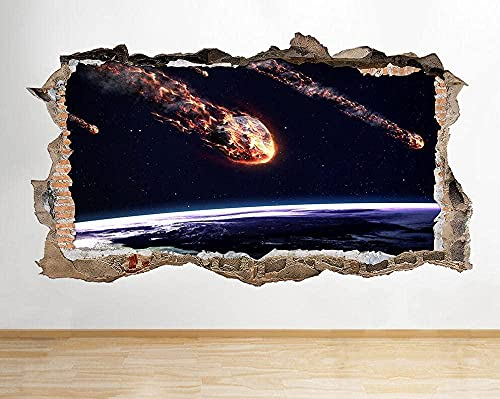 3D Pegatinas Pared Decoración - Asteroide fuego tierra aplastada pared calcomanía arte pegatinas vinilo habitación - 60 x 90 cm