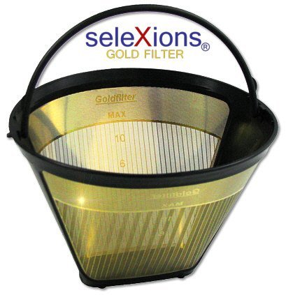 seleXions Coffee Gold with Titanium Non-Stick Hard Layer 6-12 cups and Cup/Size 1x4 Coffee Filter with Fill Level Indicator