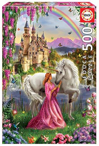 Educa- Puzzles 500 piezas, Hada y unicornio
