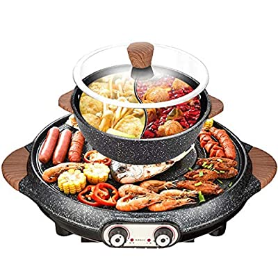 IXAER Electric Grill Hot Pot 2 in 1 Electric Smokeless BBQ and Hot Pot Home Non-stick Baking Pan Indoor Barbecue Oven 2200W 3.5L Multifunctional HotPot Shabu Split-Design Baking Tray for 2-10 People