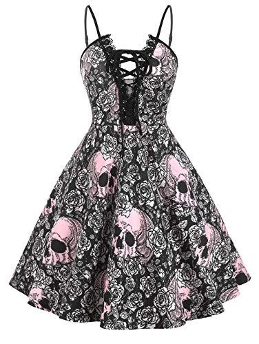 ROSEGAL Vestido de Cóctel de Halloween Vestido Sin Mangas con Cuello Halter Halloween Vestido Liñea A Tallas Grandes para Mujeres, 4XL