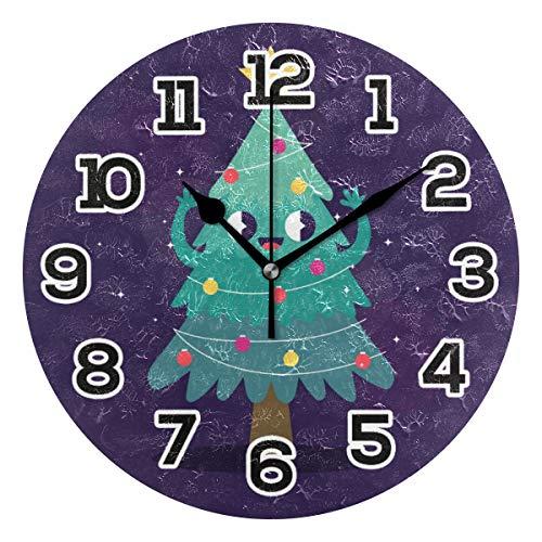 BONIPE Niedliche Cartoon Weihnachtsbaum Smiley Star Wanduhr geräuschlos Acryl 25,4 cm Home Deko Büro Schule Runde Uhr Kunst