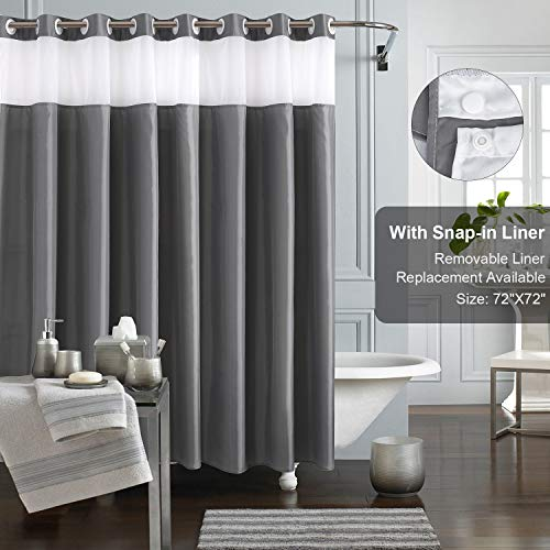 KAMSPARK Hook Free Shower Curtain with Snap in Liner, Grey Shower Curtains for Bathroom, See Through Top Fabirc Shower Curtain Ringless 72x 72 Inches