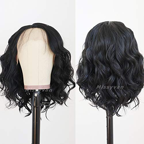 Natural Wave Soft Bob Wigs Synthetic Lace Front Wig Black Hair Heat Resistant Fiber Wigs for Women Short Black Hair Natural Hair Line Baby Hair