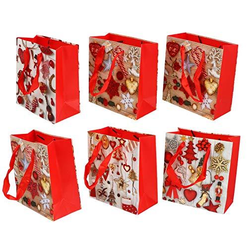 ABOOFAN 6Pcs Bolsa Bolsa de Asas con Asa Bolsas de Compras de Comestibles Bolsa de Golosinas Caja de Dulces Bolsas de Mercanca para Regalos de Fiesta de Navidad