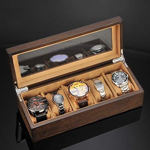 LANLANLife Caja de Almacenamiento de Reloj con Almohada extraíble, Vitrina, Pulsera de joyería de Madera for el hogar, colección de Relojes de 5 Ranuras