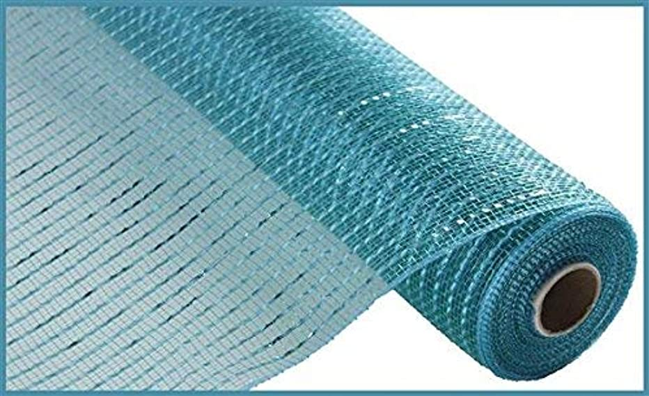 Wide Foil Deco Poly Mesh Ribbon, 10 Inches x 30 Feet (Teal, Turquoise Foil)