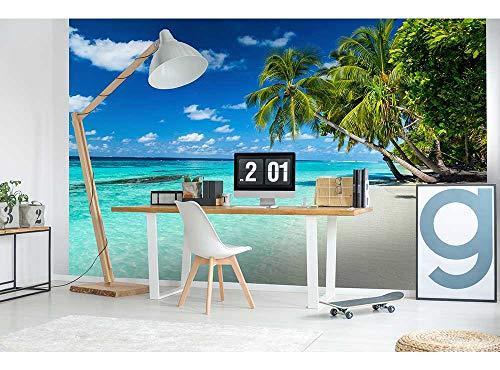 Vlies Fototapete STRAND IM PARADIES 375 x 250 cm   Vliestapete - Wandtapete für Wohnzimmer Schlafzimmer Büro Flur   PREMIUM QUALITÄT - MADE IN EU - Inklusive Tapetenkleber