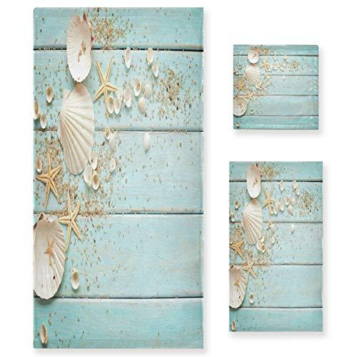 Sea Starfish Seashells Towel Set 3 Pcs Ocean Shells Stars Wooden Bath Hand Towels Soft Thin Durable Towel Multipurpose for Home Bathroom Hotel Gym Swim Spa Decor