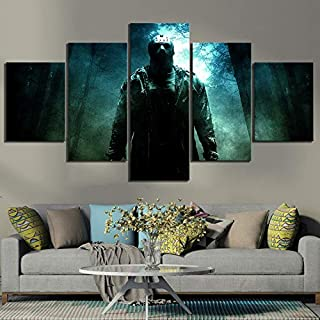 WSJXY 5 Canvas Paintings Wall Art Framed 5 Piece Fantasy Art Friday The 13th Horror Movie Poster Jason Voorhees Pictures Canvas Paintings Wall Art for Home Decor