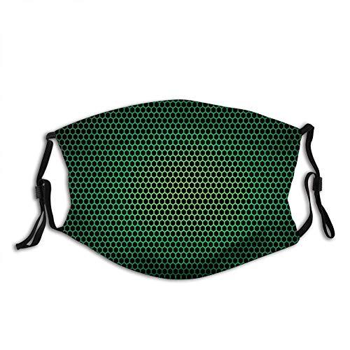 Füllstoff Waldgrün, geometrisches Wabenmuster mit Polygon-Technologie-themenorientierter Gitter-Netzfliese, grünes schwarzes wiederverwendbares halbes Gesicht