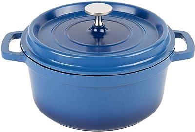 Heiss Lightweight Cast Aluminum Dutch Oven, 2.5 Quart, Round, Blue