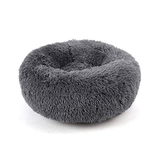 XEMQENER Pet Bed Cushion, Dog Cat Bed Soft Round Donut Sofa Basket Bed Sleeping Bed Mat Washable For Small Medium Dogs Cats Kitten Non-Slip 70cm, Dark Grey