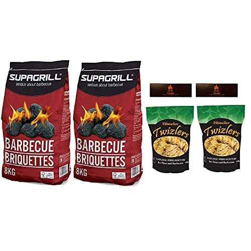 Topline Barbeque Grill Bundle With 2x Supagrill CPL 8KG BBQ Briquettes Barbecue Charcoal Coal 2x Homefire Twizlers (Wood…