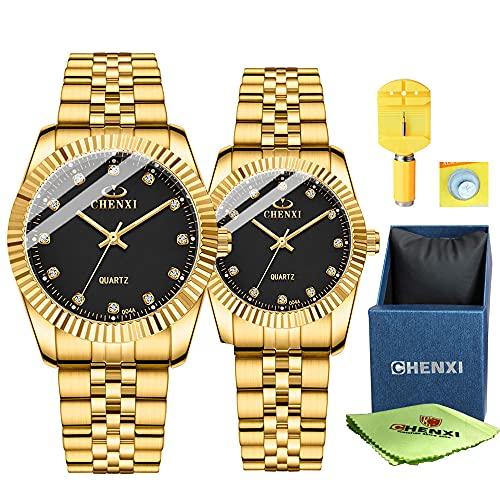 Relojes de Pulsera para Mujer Reloj de Negocios para Hombre 3ATM Impermeable Correa de Malla de Acero Inoxidable Dorada Relojes de Pareja Cuarzo para Amantes Boda Regalos románticos Conjunto de 2