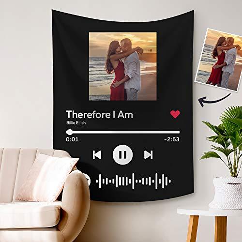 Personalisierter Wandteppich mit Spotify Musik & Bild Bedrucken Weich Groß Waschbar Schwarz Wandbehang Wanddeko Fotokunst Wohn/Schlaf/Kinderzimmer Geschenk für Frauen Familie Geburtstag Weihnachten