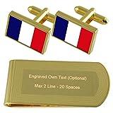 Mayotte Bandera de tono Oro gemelos Money Clip grabado Set de regalo