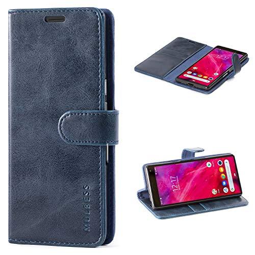 Mulbess Handyhülle für Sony Xperia 10 Hülle Leder, Sony Xperia 10 Handy Hüllen, Vintage Flip Handytasche Schutzhülle für Sony Xperia 10 Hülle, Navy Blau