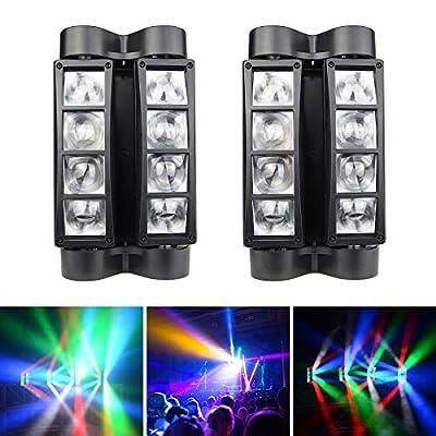 Betopper Mini Spider Moving Head Stage Light LED DJ Lighting RGBW, 8 x 3W DMX 512 Dual Sweeper Pulse Strobe Effect Lights for Restaurant,Live,Club,Concert etc. (2pcs)