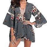 MRULIC Damen Florale Kimono Cardigan Boho Chiffon Sommerkleid Beach Cover up Leicht Tuch für die Sommermonate am Strand oder See (XL, X-Grau)