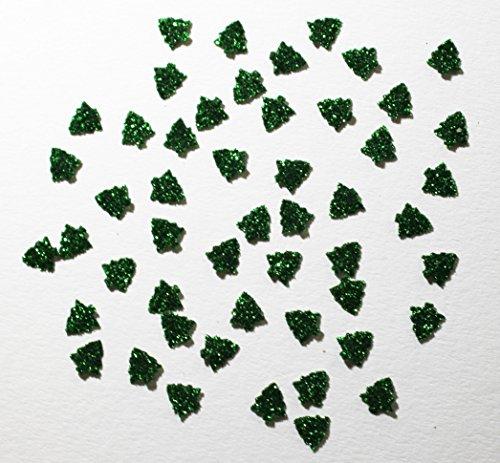 50 Mini SAPINS Noel Vert thermocollant hotfix Glitter Bling DIY 9mm