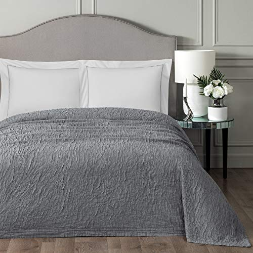 %40 OFF! Togas Bedspread Simon Solid,Modern,Geometric,Jacquard 80% Cotton, 20 Polyester King Gray