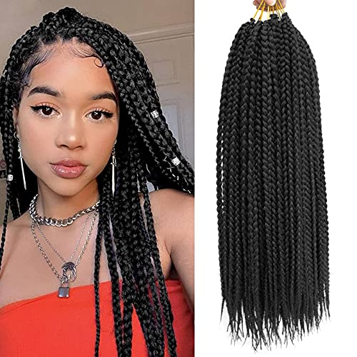 Box Braids Crochet Hair 18inch crochet braids Pre looped Crochet Braids Hair for Black Women Hair Extension Braiding Hair Long for Black Women (18 inch, 1B)