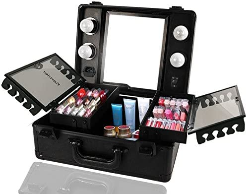 Kemier Makeup Train Case Cosmetic Organizer Box Makeup Case with Lights and Mirror Makeup Case product image