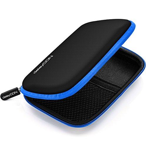 deleyCON Festplattentasche Festplatten Hülle HDD Hülle - Für 2,5 Zoll Festplatten & SSD - Robust und Stoßsicher - 2 Innenfächer Netztaschen - Schwarz/Blau