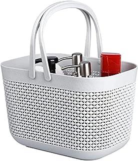 Panier rangement en plastique avec poignées, corbeille rangement, organisateur de bacs de douche pour salle de bain et cui...