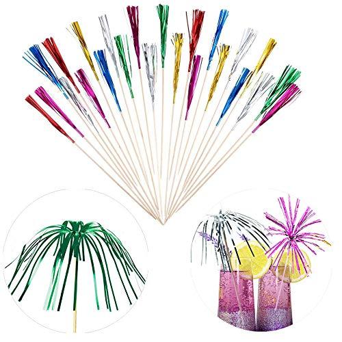 FLZONE Cocktail-Sticks,100 Stück Cocktailspieße Bambusspieße für Cocktails Vorspeisen Früchte Desserts Partyzubehör Obstspieß-Feuerwerk Party Picks