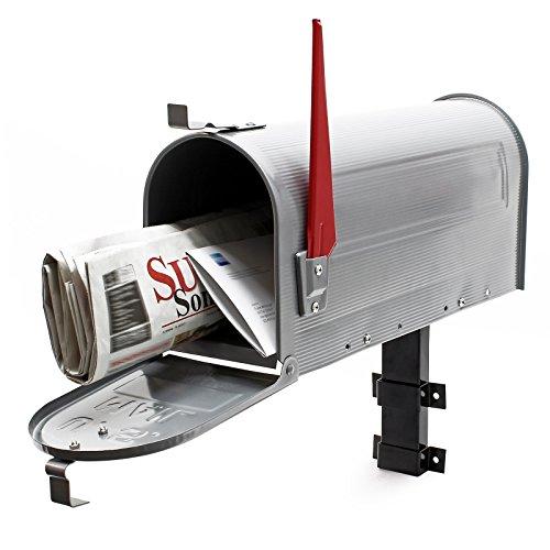 US Mailbox Briefkasten Amerikanisches Design silbergrau mit passender Wandhalterung