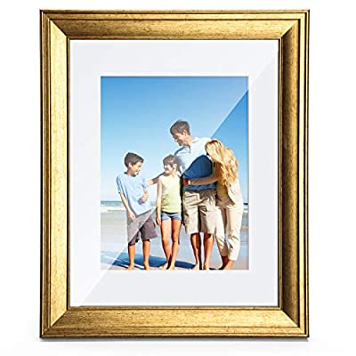 TWING 8x10 Picture Frames Gold with Mat Solid Wood HD Plexiglass Display 5x7 Picture with Mat or 8x10 Photo Without Mat for Table Top Display and Wall Mounting Photo Frame