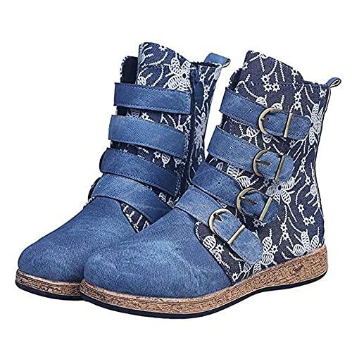 LLDG Damen Combat Stiefel Flache Biker Boots Vintage Kurzschaft Boots Kurz Stiefeletten ausgefallene Knöchelstiefel Western Stiefeletten Retro Combat Boots mit Schnallenriemen rutschfest Ankle Boots