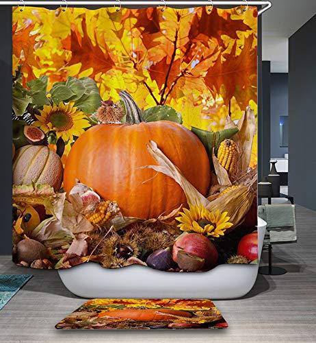 GoJeek Thanksgiving Kürbis-Duschvorhang, großer Kürbis mit Gemüse, Obst, Nüssen, Ernte, Herbstblätter, Urlaub, Badezimmer-Dekor