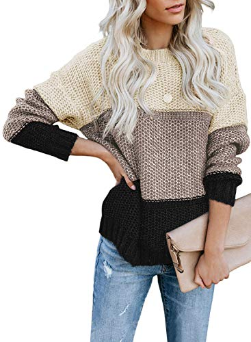 CANIKAT Women's Ladies Fall Crewneck Color Block Netted Texture Knit Jumper Pullovers Long Sleeve Casual Loose Warm Sweaters Tops Black M