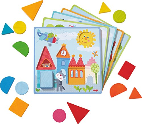 HABA 302949 - Zuordnungsspiel Tierische Abenteuer | Sortierspiel mit 5 Motivkarten und 15 Holzbausteinen in unterschiedlichen Formen und Farben | Spielzeug aus Holz und Pappe ab 18 Monaten