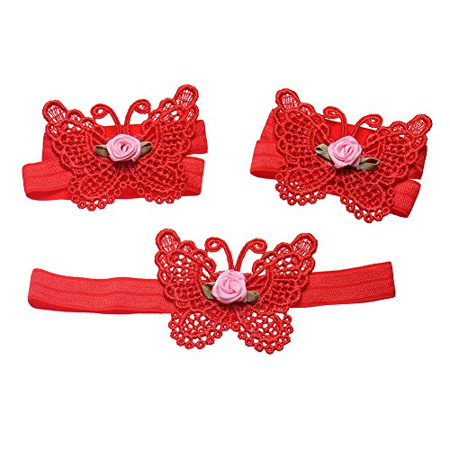 3x papillon en forme de Bandeau de Baby Girl et Barefoot Sandals Fleur Coiffe 1 Set