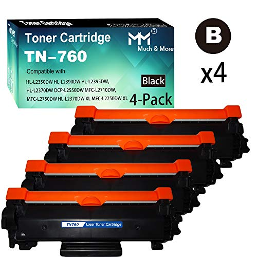 (4-Pack,High Yield) MuchMore Compatible Toner Cartridge Replacement for Brother TN-760 TN760 DCP-L2550DW HL-L2350DW L2370DWXL L2395DW MFC-L2710DW L2750DW L2750DWXL