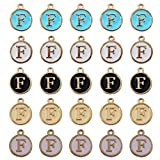 INSPIRELLE 25pcs Metal Letter F Charms Enamel Initial Charms Double Sided Alphabet Charms for Necklace and Bracelet Making Craft Supplier