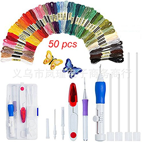 Lumpna Magic Embroidery Pen Kit, Embroidery Stitching Punch Needles Craft Tool Set Combination Including Threads for DIY Sewing Cross Stitching(AC152)