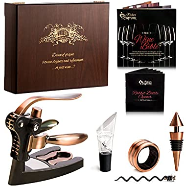 Wine Opener Corkscrew BEST Wine Bottle Opener - 7 Piece Bundle with Stand, Bottle Plug, Wine Aerator, Drip Ring, Foil Cutter & EXTRA Teflon Spiral + Wooden Box Perfect Gift Set