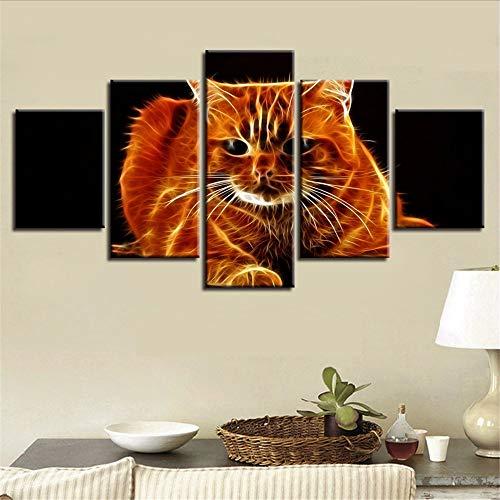 Cczxfcc, abstracte moderne woonkamerwanddecoratie, 5-delig, dier-aansteker, Cat Hd schilderwerk, canvas modulair 10x15/20/25cm-avoir un Cadre