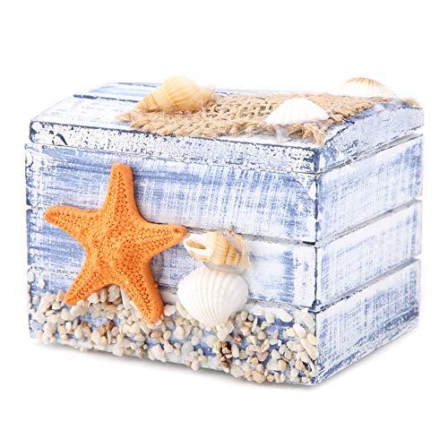 Caja de almacenamiento de madera, caja de almacenamiento de estrellas de mar, para joyas, pendientes, dulces