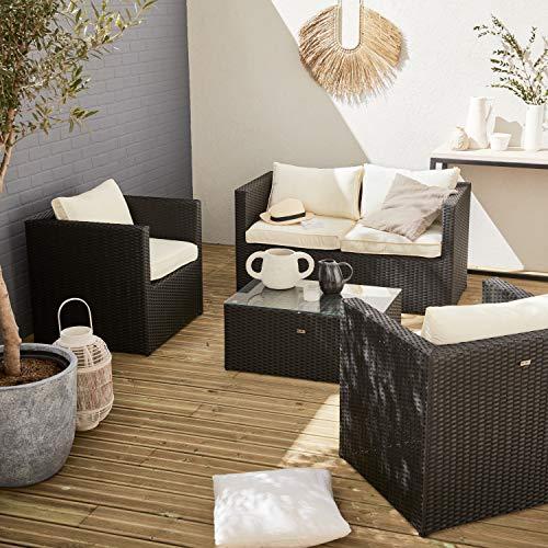 Alice's Garden Sofa de Jardin, Conjunto Sofa de Exterior, Ratan Sintetico - Negro Crudo, 4 plazas
