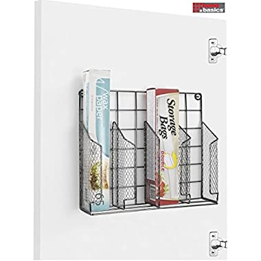 Home Basics Stainless Steel Rust Resistant Wrap Organizer, Perfect for Food Storage Bags, Silver Foil, Wax Paper, Sandwich Bags, Plastic Wrap- Mounts to Cabinet Door or Wall. Onyx/Black Finish